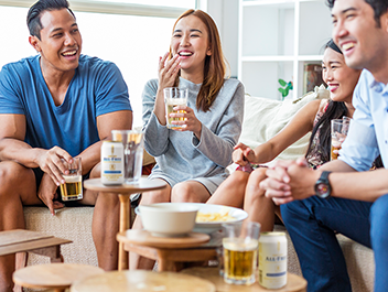A chilled cooler of ALL-FREE with good food and a house full of good friends.